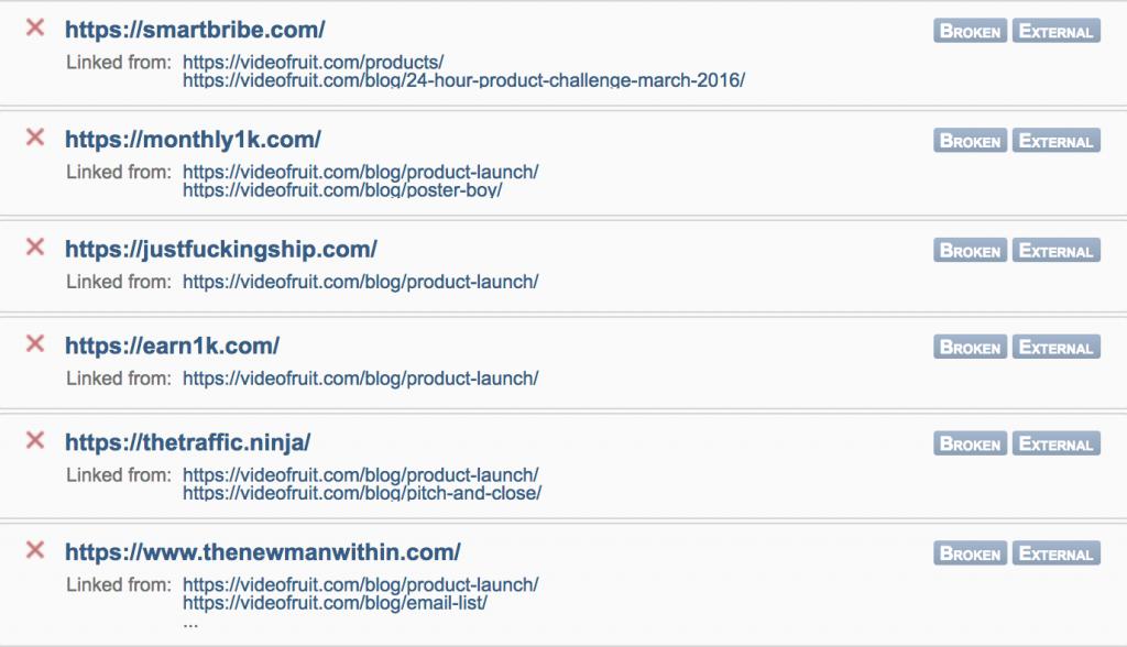 Broken link status