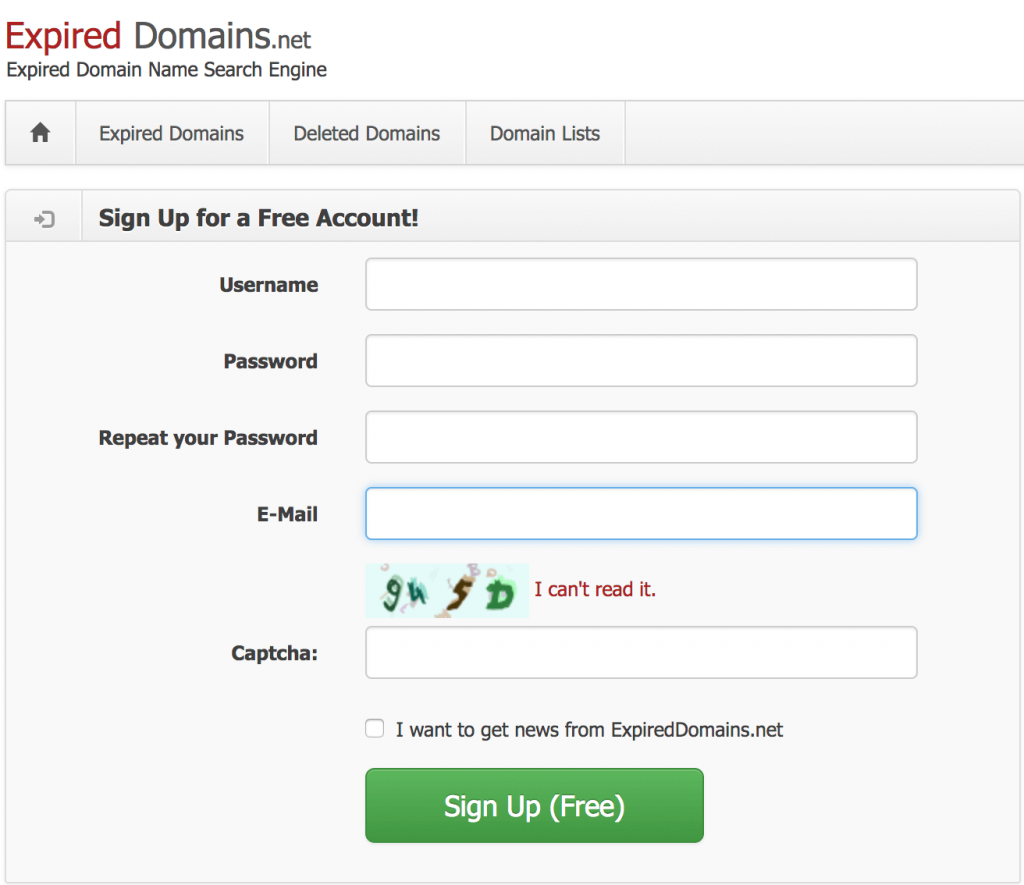 Expired domain registration