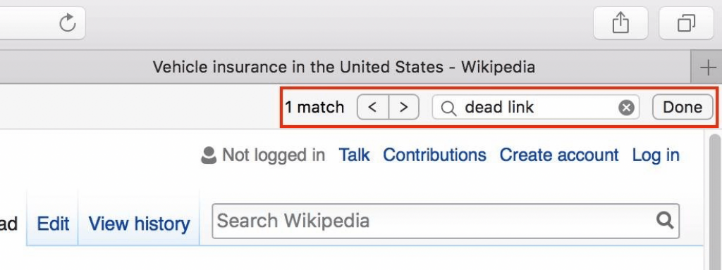Search for dead links