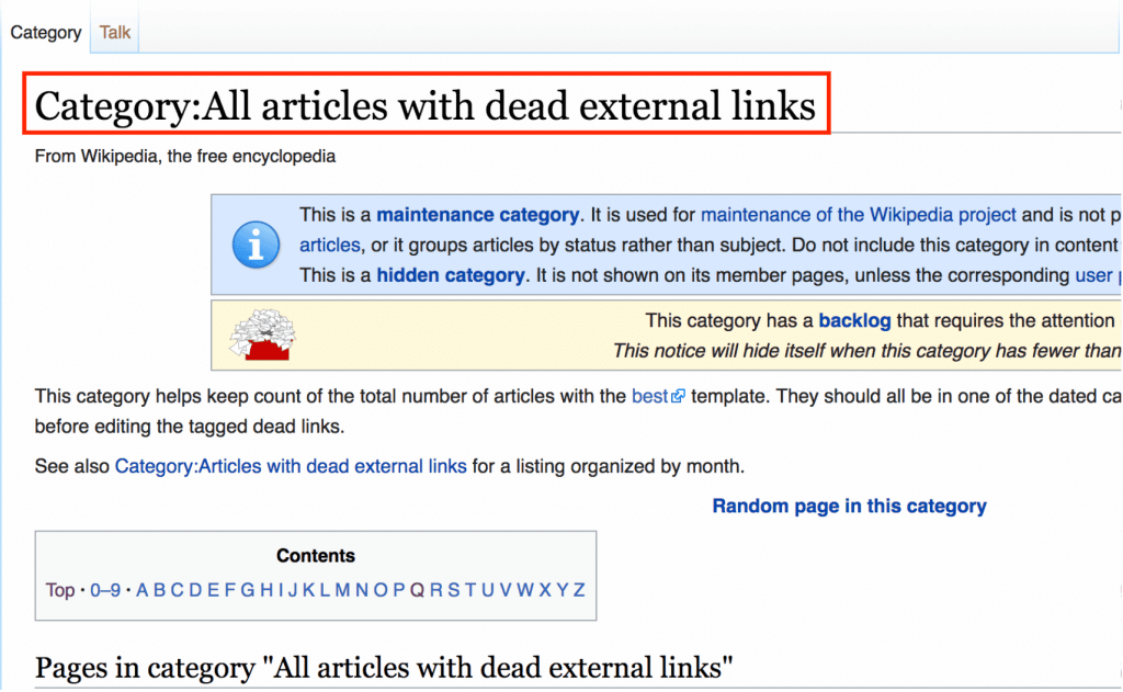 Wikipedia dead external links