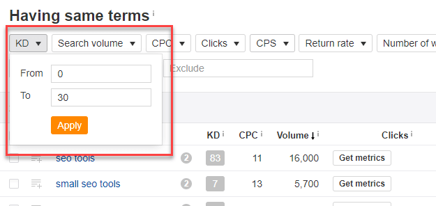 Keyword difficulty filter
