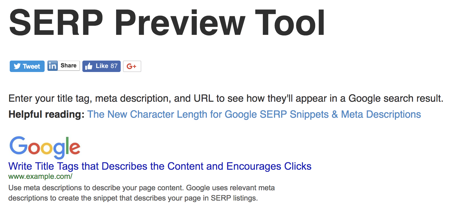 Serp preview tools