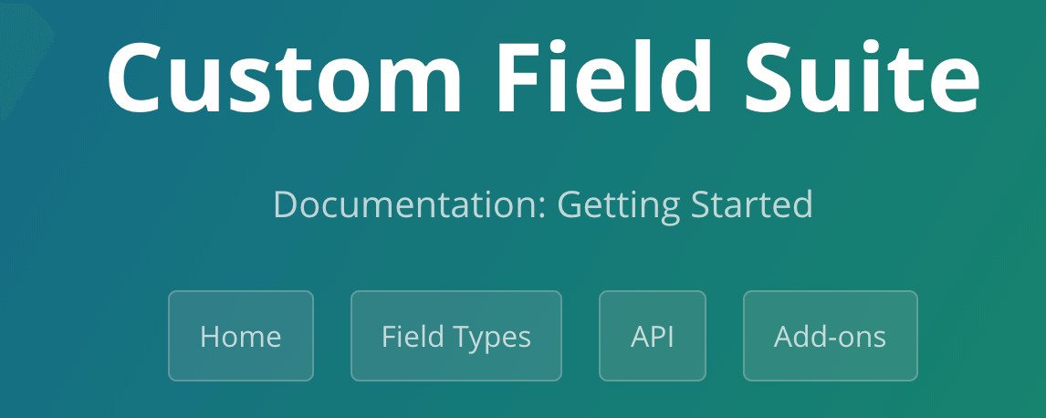 Custom Field Suite wp plugin